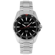 Seiko Men's Silver Steel Solar Powered Sports Watch