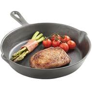 VonShef Cast Iron Skillet Pan | Black | 25cm | 10 Inch Frying Pan - Save £8