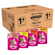 SAVE £7.85 Whiskas 1+ Cat Food Pouches Mixed Selection in Jelly, 100g (120 Pack)