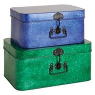 Set of 2 Galvanised Metal Storage Trunks