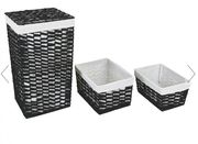 Black Woven Laundry Bin with 2 Nested Baskets Only £12