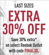 Extra 30% off Selected Reebok Outlet
