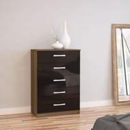 Birlea Furniture Lynx Walnut & Black 5 Drawer Chest