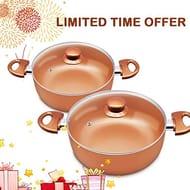 2pcs Soup Pots with Lids 4qt and 1qt Cookware Set Casserole Pan