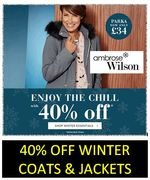 40% off COATS and JACKETS - Winter Warmers Offer