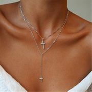 Multilayer Cross Crystal Neck Chain Sweater Chain Jewelry