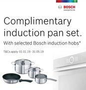 Complimentary Induction Pan Set with Selected Bosch Induction Hob.