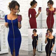 Womens v Neck Bodycon Front Zip Cocktail Ladies Party Pencil Midi Dress