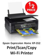 1/2 PRICE at AMAZON: Epson Expression Home XP-352 Print/Scan/Copy Wi-Fi Printer
