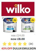 DULUX EMULSION WHITE PAINT - Was £14 Now Only £8 at WILKO!