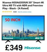 Cheap Price 50 INCH Smart 4K Ultra HD TV with HDR - Hisense H50A6200UK
