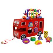 Wooden Red Bus Toy, 4 in 1 Wooden Shapes Sorter Pull along Toy