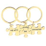 Women Letter Jigsaw Piece Couple Key Ring Holder Lovers Keychain