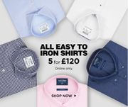 TM Lewin ONLINE ONLY Offer - 5 Easy to Iron Shirts for £120