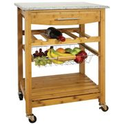 *HALF PRICE* Bamboo Kitchen Trolley with Granite Top £50.99 with Code