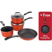 Scoville Neverstick 4 Piece Free Frying Pan Red Cookware Set Free C&C
