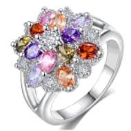 Luxury Multi Sapphire Flower Ring for Women