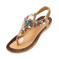Women Summer Beach Shoes Bohemian Beaded T Strap Flip Flops Size 36