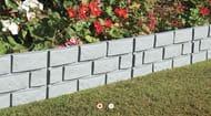 Pack of 4 Grey Brick-Effect Garden Border Pieces