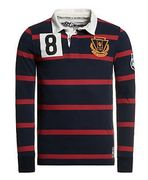New Mens Superdry Factory Second Training Ground Polo Shirt Scrum Stripe Navy