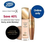Online EXCLUSIVE! 40% off MAX FACTOR at BOOTS. Hurry Ends Monday!