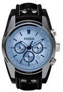Fossil CH2564 Men's Coachman Chronograph Date Leather Strap Watch, Black/Blue