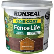 *HALF PRICE*Ronseal One Coat Fence Life Harvest Gold Exterior Wood Paint 5L