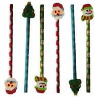 6 Christmas Pencil with Eraser
