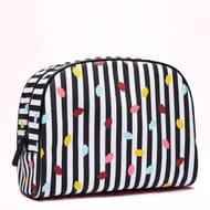 Stripe Confetti Lip Large Crescent Washbag