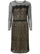 All Black Geometric Lace Pencil Dress Size 6 8 10 12 14 16 18 20 22