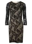 Tall Black Leafy Bodycon Dress Size 6 8 10 12 14 16 18 20 22