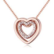 Crystal Double Heart Pendant Necklace
