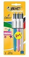 BIC 4 Colours Shine Ballpoint Pens 3 Pack