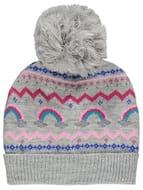 Grey Sparkling Fairisle Rainbow Bobble Hat