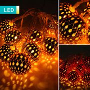 LED Fairy Lights with 10 Metal Baubles
