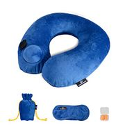 SHANSHUI Inflatable Travel Pillow with Storage Bag, Eye Mask & Ear Plugs