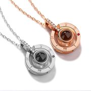 Rose Gold Silver 100 Languages I Love You Projection Pendant Necklace
