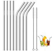 Bargain Price! Stainless Steel Straws, Set of 8 with 2 Pack Cleaning Brushes