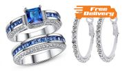 2.5ct Blue Created Sapphire Ring with FREE Earrings - Free Delivery