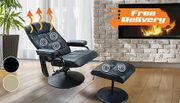 Reclining Massage Chair with Footstool - FREE Delivery!