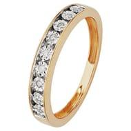 Revere 9ct Gold 0.05ct Tw Diamond Half Eternity Ring