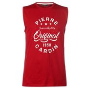 Pierre Cardin Logo Sleeveless T Shirt Mens