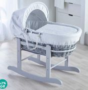 Kinder Valley Wicker Moses Basket and Rocking Stand