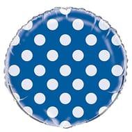 "Unique Party 55577 - 18"" Foil Royal Blue Polka Dot Helium Balloon"