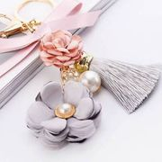 Flowers Keychain Gold Color Chain Tassel Key Ring