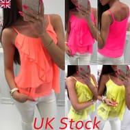 Plus Size 8-22 UK Summer Women Strappy Chiffon Vest Top