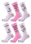 Womens 6 Pairs Design Socks Coloured Socks Cotton Rich Size 4-7