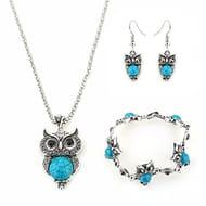Set of Owl Crystal Pendant Necklace+Earrings+Bracelet