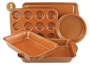 Gr8 Home Copper Non Stick 5 Pc Cake Biscuit Muffin Oven Baking Tin Tray Pan Set