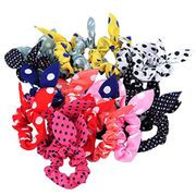 Display08 10Pcs Girl Rabbit Ear Hair Tie Bands Polka Dot Ponytail Holders